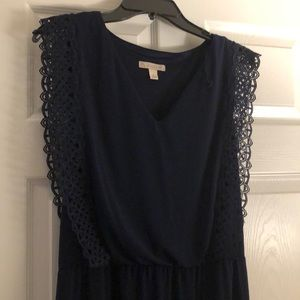 Dressbarn Navy Blue Maxi with Lace Trim